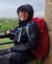 Kathey in rain gear